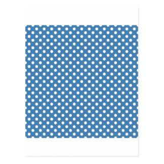Lunares - blanco en el azul de acero postales