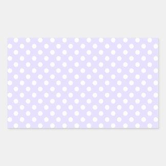 Lunares - blanco en la lavanda pálida pegatina rectangular