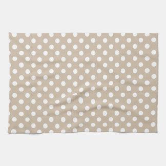 Lunares - blanco en la vainilla oscura toallas de cocina