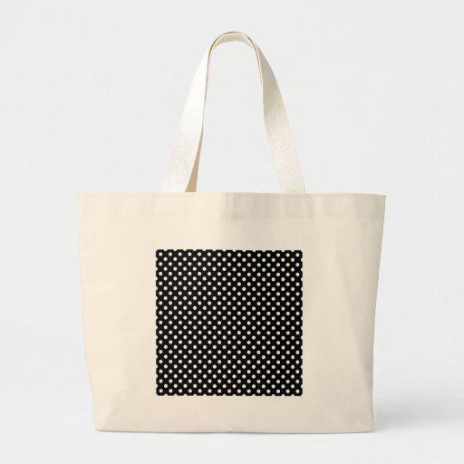 Lunares - blanco en negro bolsa tela grande
