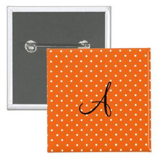 Lunares blancos anaranjados del monograma pin