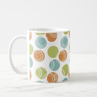 Lunares blancos anaranjados quemados verde del tru tazas de café