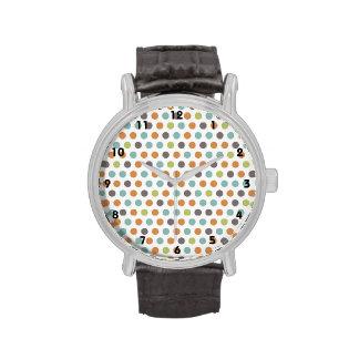 Lunares blancos de color topo anaranjados verdes d relojes de pulsera