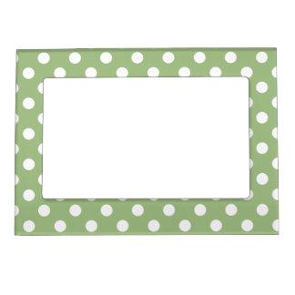 Lunares blancos de la verde salvia marcos magneticos