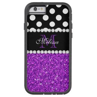 Lunares blancos del brillo púrpura cones monograma funda de iPhone 6 tough xtreme