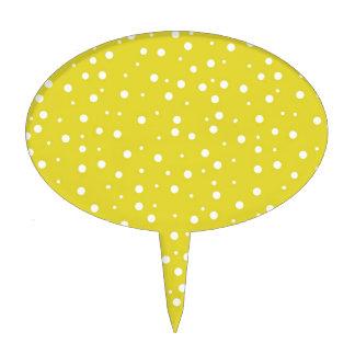 Lunares blancos en amarillo decoraciones para tartas