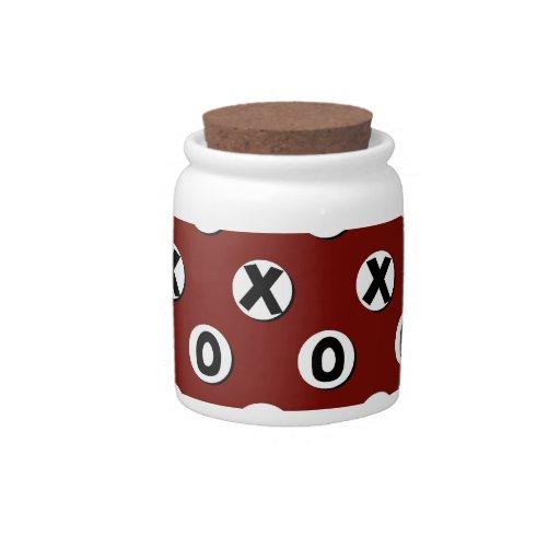 Lunares blancos en el fondo rojo XXX OOO Plato Para Caramelo
