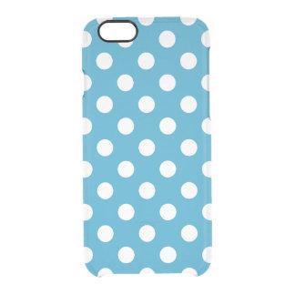 Lunares blancos en fondo del azul de pavo real funda clear para iPhone 6/6S
