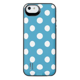 Lunares blancos en fondo del azul de pavo real funda con bateía para iPhone SE/5/5s