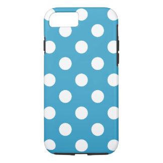 Lunares blancos en fondo del azul de pavo real funda iPhone 7
