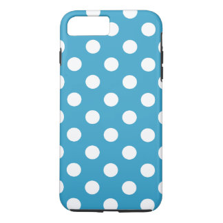 Lunares blancos en fondo del azul de pavo real funda iPhone 7 plus