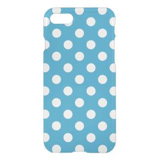 Lunares blancos en fondo del azul de pavo real funda para iPhone 7