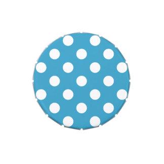 Lunares blancos en fondo del azul de pavo real jarrones de caramelos