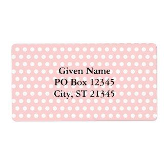 Lunares blancos en pálido - rosa etiqueta de envío