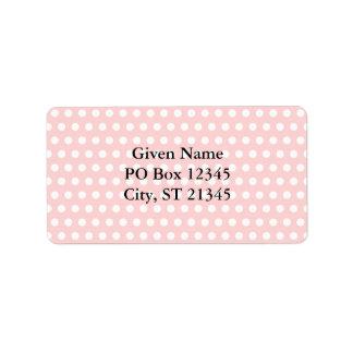 Lunares blancos en pálido - rosa etiquetas de dirección