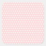 Lunares blancos en pálido - rosa pegatinas cuadradases
