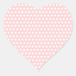 Lunares blancos en pálido - rosa pegatina en forma de corazón