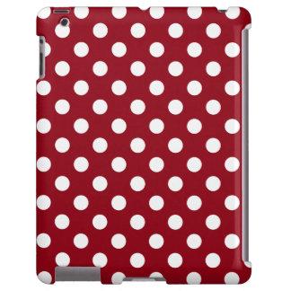 Lunares blancos en rojo carmesí funda para iPad