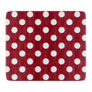 Lunares blancos en rojo carmesí tablas de cortar