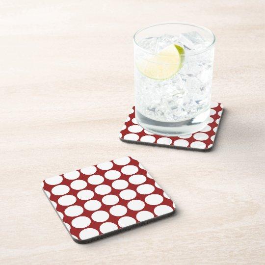Lunares blancos en rojo posavasos de bebidas
