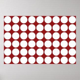 Lunares blancos en rojo póster