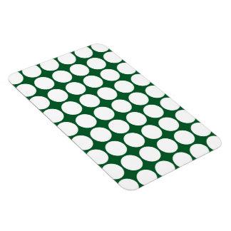 Lunares blancos en verde iman rectangular