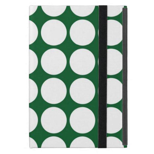 Lunares blancos en verde iPad mini carcasas