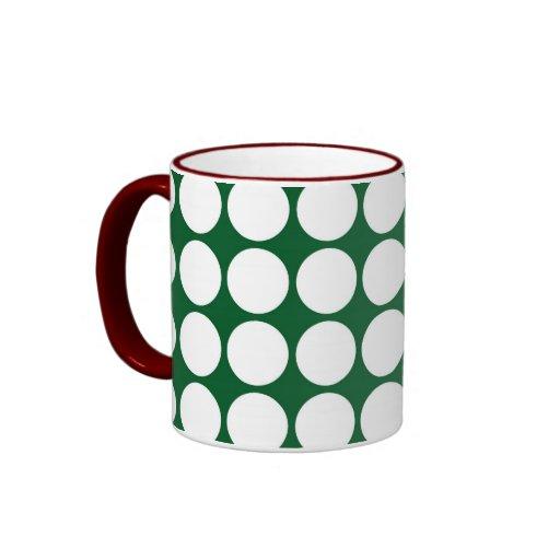 Lunares blancos en verde tazas