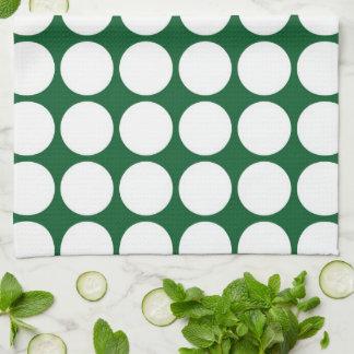 Lunares blancos en verde toalla de cocina