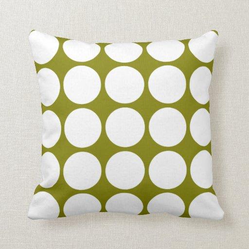 Lunares blancos grandes con clase en verde verde o almohada