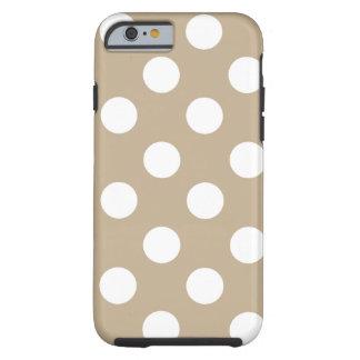 Lunares blancos grandes en de color caqui funda para iPhone 6 tough