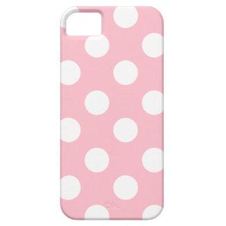 Lunares blancos grandes en rosa funda para iPhone 5 barely there