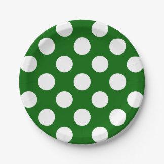 Lunares blancos grandes en verde de los días plato de papel de 7 pulgadas