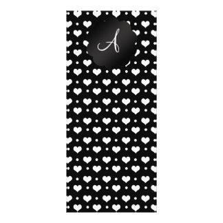 Lunares blancos negros de los corazones del tarjetas publicitarias a todo color