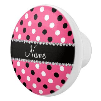 Lunares blancos negros rosados conocidos pomo de cerámica