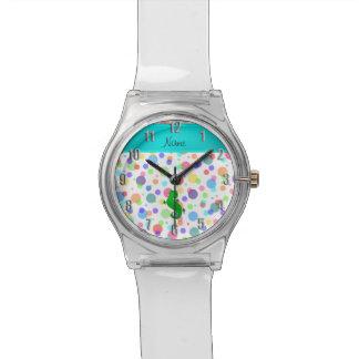 Lunares blancos personalizados del arco iris del relojes de mano
