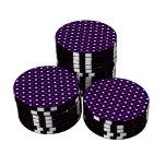 Lunares blancos púrpuras fichas de póquer