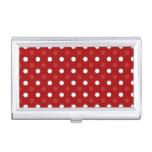 Lunares blancos rojos caja de tarjetas de visita