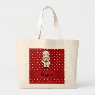 Lunares blancos rojos personalizados del cocinero  bolsas de mano