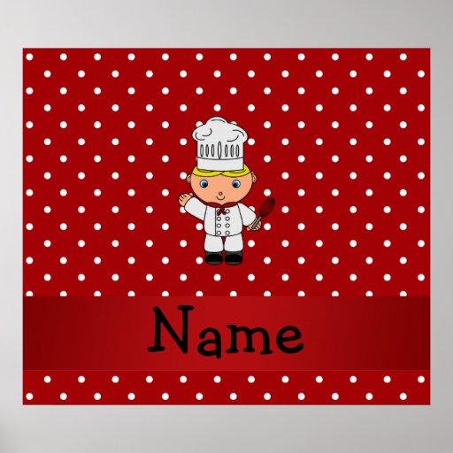 Lunares blancos rojos personalizados del cocinero  poster
