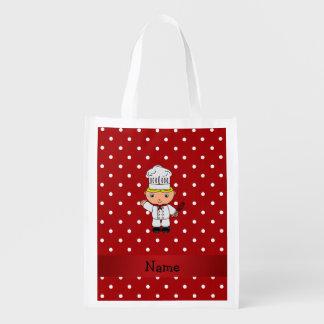Lunares blancos rojos personalizados del cocinero bolsas para la compra