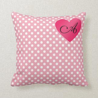 Lunares blancos rosados del monograma almohada