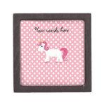 Lunares blancos rosados del unicornio caja de regalo de calidad