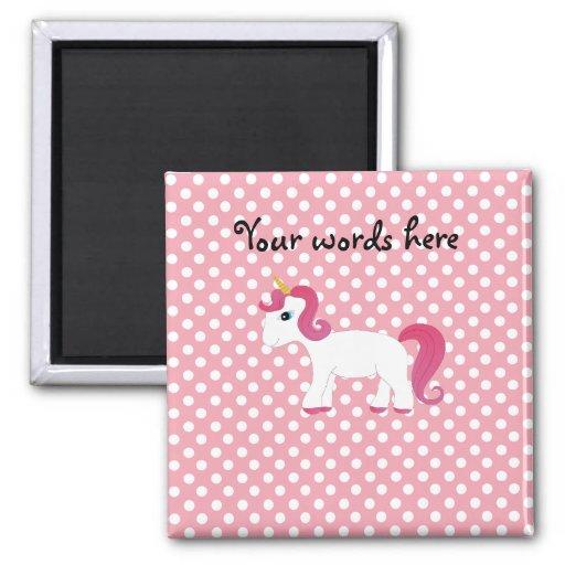 Lunares blancos rosados del unicornio imán cuadrado