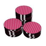 Lunares blancos rosados fichas de póquer