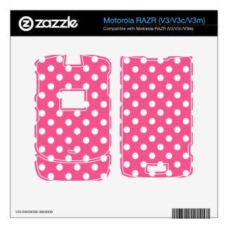 Lunares blancos rosados calcomanías para motorola RAZR