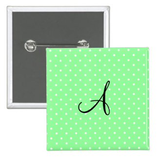 Lunares blancos verdes claros del monograma pin