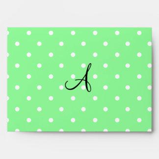 Lunares blancos verdes claros del monograma