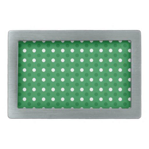 Lunares blancos verdes hebilla cinturon rectangular