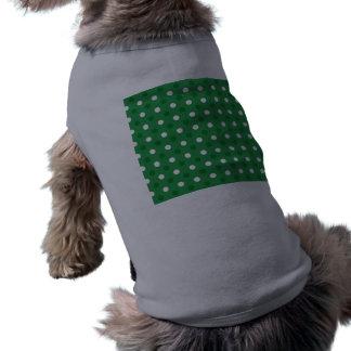 Lunares blancos verdes playera sin mangas para perro